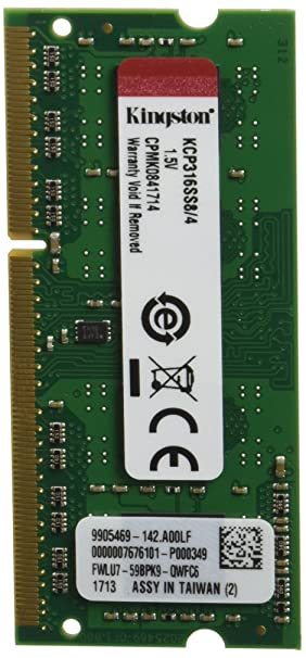Kingston KCP316SS8/4 - Memoria RAM para portátil de 4 GB (1600 MHz SODIMM, DDR3, 1.5V, CL11, 204-pin): Kingston: Amazon.es: Informática