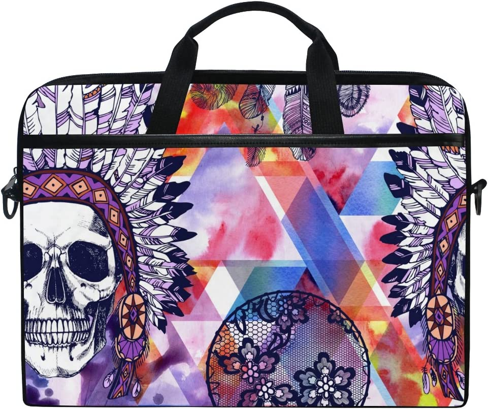 JSTEL Skull Chief and Lacy Dreamcatcher Laptop Shoulder Messenger Bag Case Sleeve for 14 inch to 15.6 inch with Adjustable Notebook Shoulder Strap