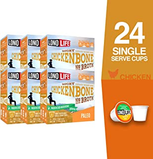 product image for LonoLife Reduced Sodium Chicken Bone Broth Powder with 10g Protein, Paleo and Keto Friendly, Single Serve Cups, 24 Count