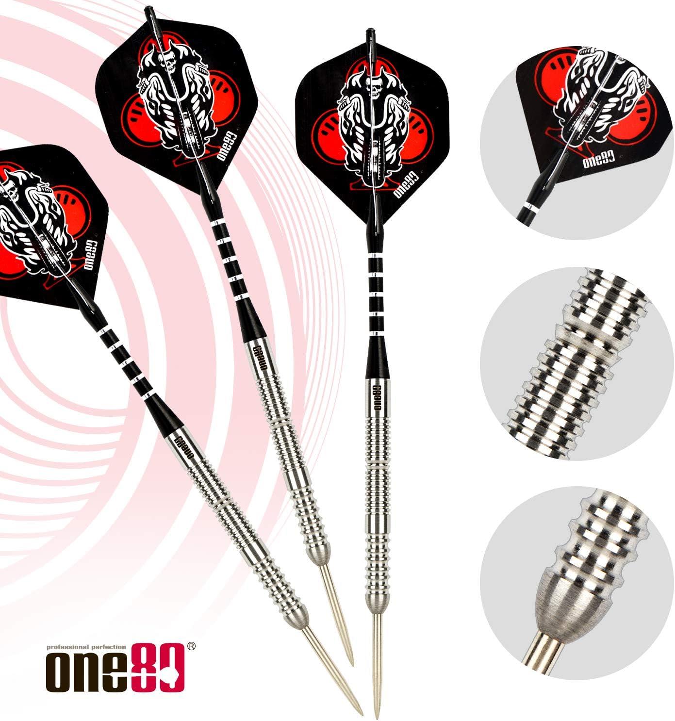 ONE80 90/% Tungsten Professional Steel Tip Darts Set with Storage//Travel Case