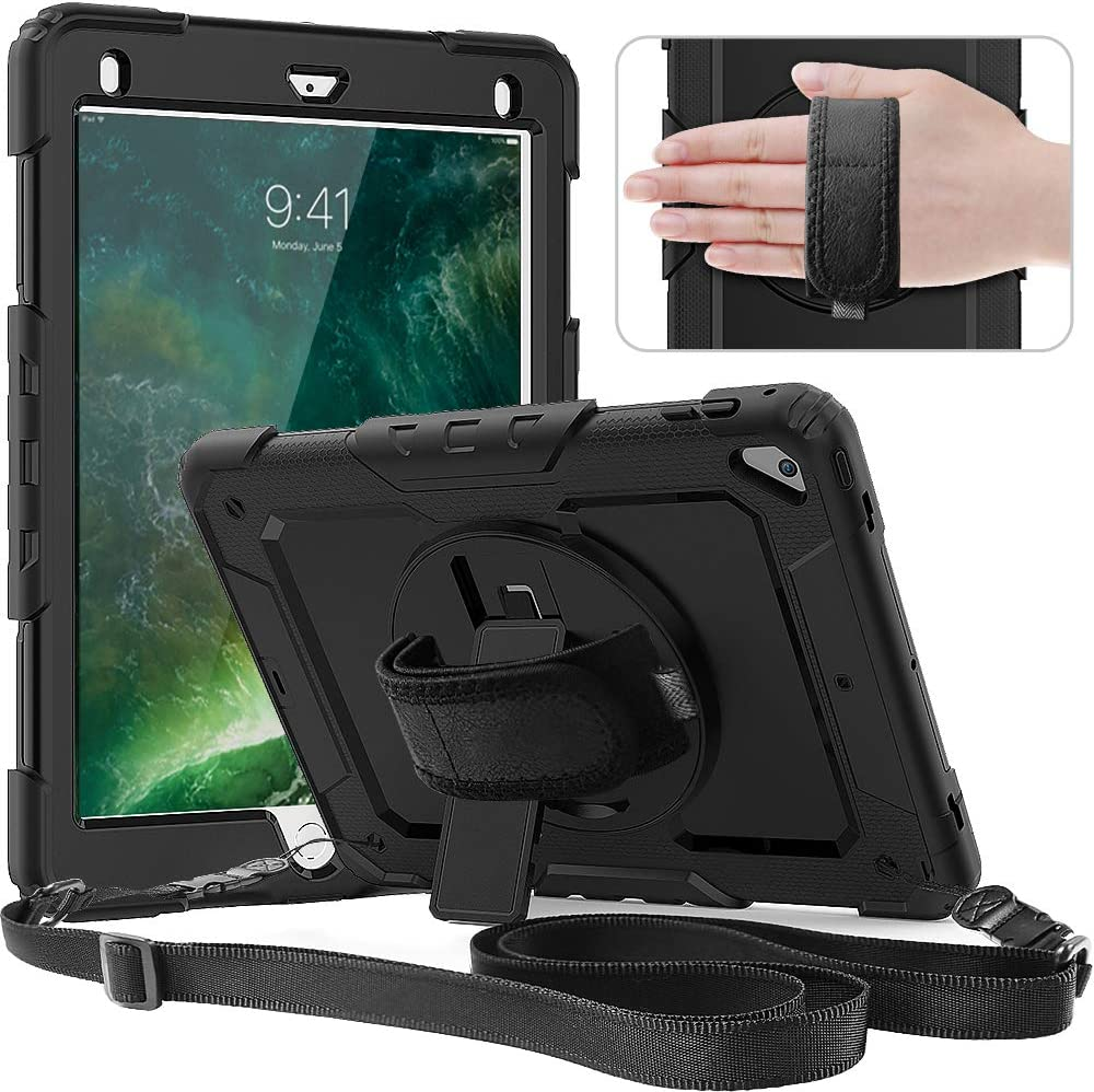 Timecity Case Compatible with iPad 6th/5th Generation,9.7 Inch 2018/2017 Case with Rotating Stand/Strap Full-Body Hybrid Armor Protective Case Replacement for iPad 5th/6th Gen/Air 2/ Pro 9.7 Black