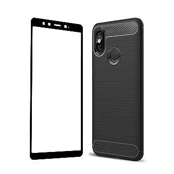 UCMDA Funda Xiaomi Mi A2, Carcasa Xiaomi Mi A2/Xiaomi Mi 6X con Protector de Pantalla, Fundas Negro Suave TPU para Xiaomi Mi A2/Xiaomi Mi 6X (Lanzado ...