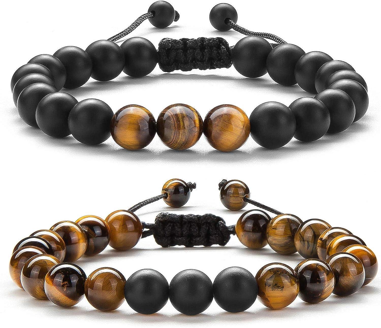 Hamoery Men Women Gifts Bracelet Braided Rope Natural Tiger Eye Stone Yoga Bracelet Bangle-21018