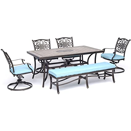 Magnificent Hanover Mondn6Pcsw4Bn Blu Monaco 6 Piece Dining Set In Blue With Four Swivel Rockers A Cushioned Bench And A 40 X 68 Tile Top Table Outdoor Uwap Interior Chair Design Uwaporg