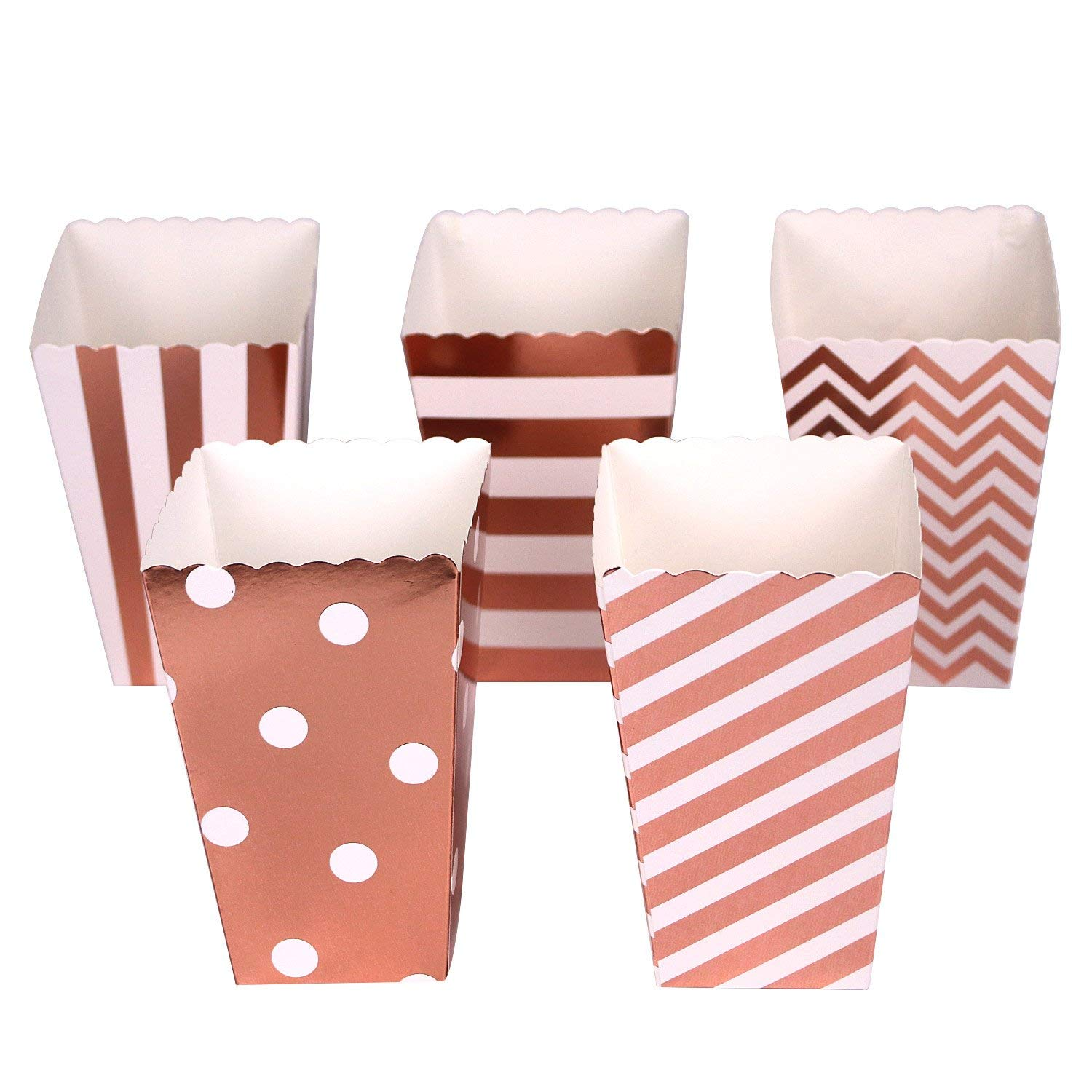 Mini Poprcorn Boxes 100 Pack Rose Gold Paper Popcorn Snack Containers Treat Box for Wedding Party Bridal Shower Birthday Movies by BALANSOHO (Image #4)