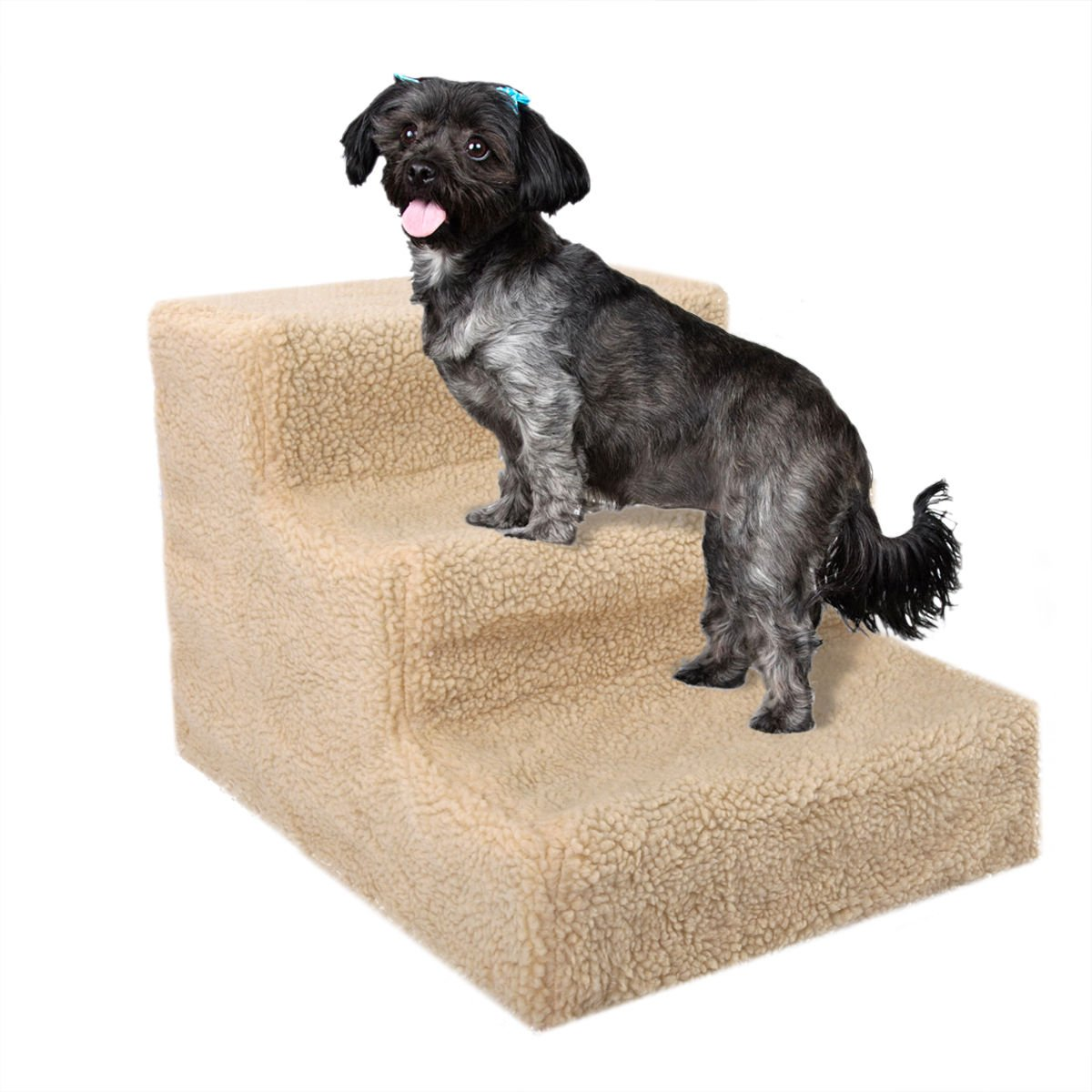 Lykos Soft Portable Cat Dog 3 Steps Ramp Small Climb Pet Step Stairs (Beige) by Lykos (Image #4)
