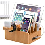 Pezin & Hulin Bamboo Charging Stations for Multiple Devices, Upgrade Desk Docking Station Organizer for Cell Phones, Tablet,