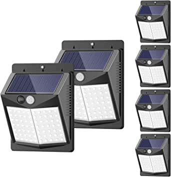 Solar Lights Outdoor, [6 Pack/3 Modes/50LED] SEZAC Motion Sensor Security Lights Solar Security Lights IP 65 Wireless Waterproof Outdoor Lights for Garden Patio Yard Deck Garage Fence Pool