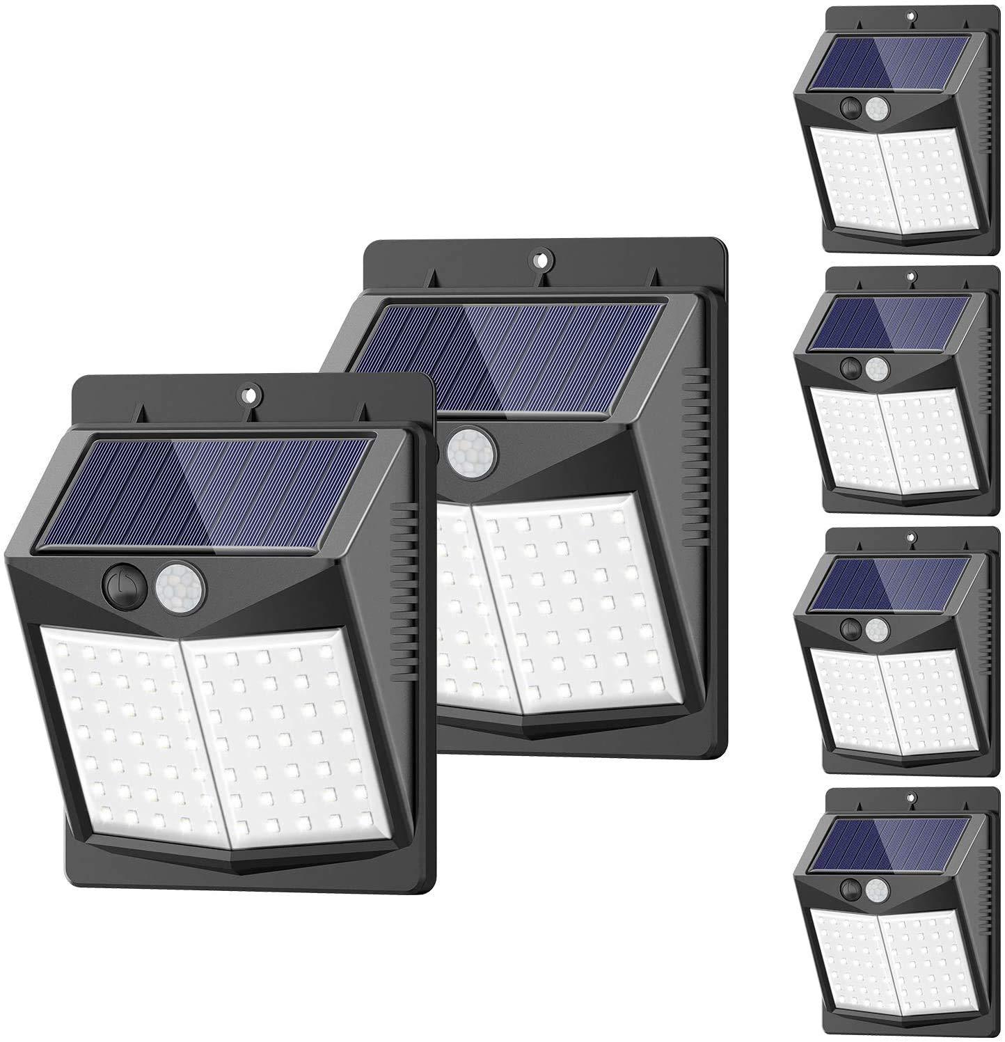 Solar Lights Outdoor, [6 Pack/3 Modes/50LED] SEZAC Motion Sensor Security Lights Solar Security Lights IP 65 Wireless Waterproof Outdoor Lights for Garden Patio Yard Deck Garage Fence Pool