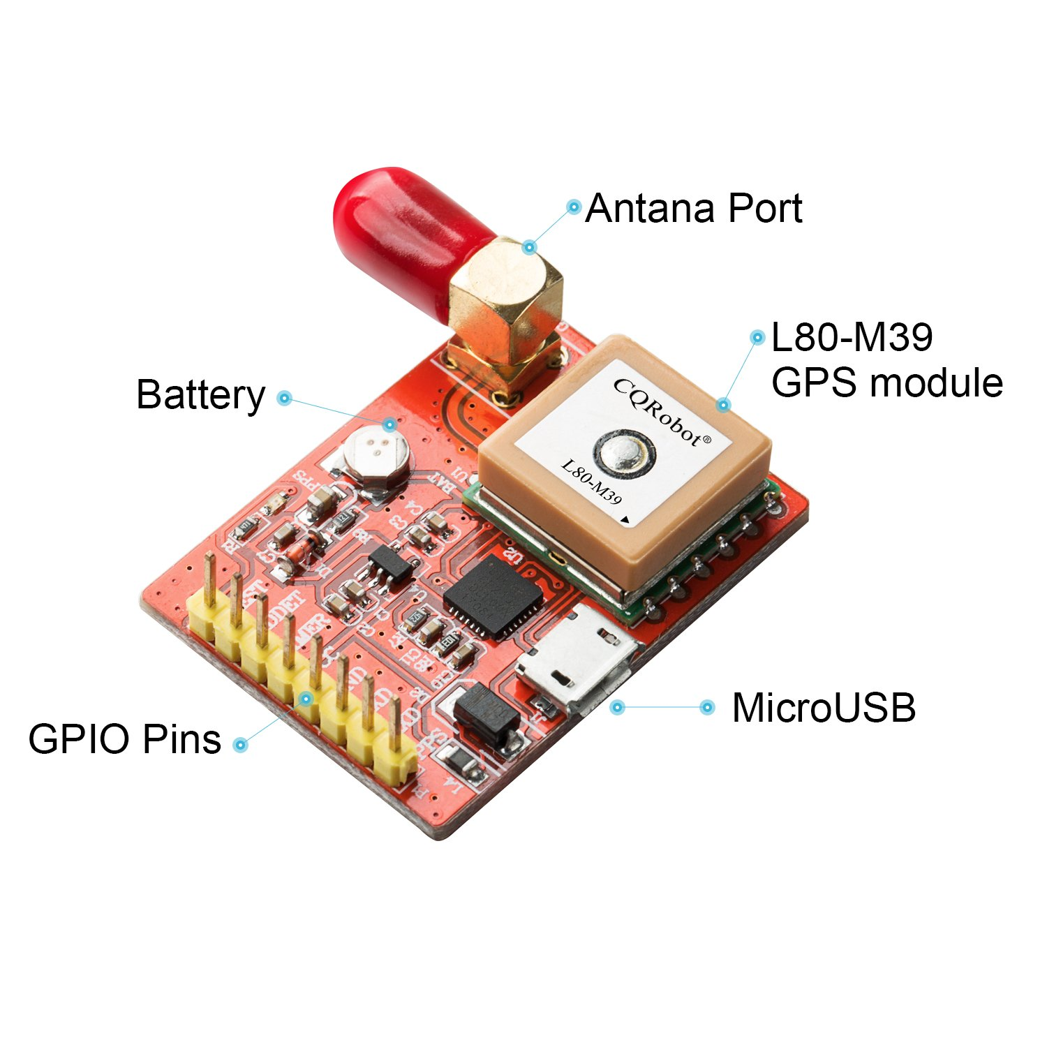 Red Fr4 Pcb L80 39 Usb Port Gps Module And 3 Meters Antenna Kit Circuit Board Buy Boardgps Tracking Pcbgps Support Raspberry Pi Model A B Zero 2 Computers Accessories