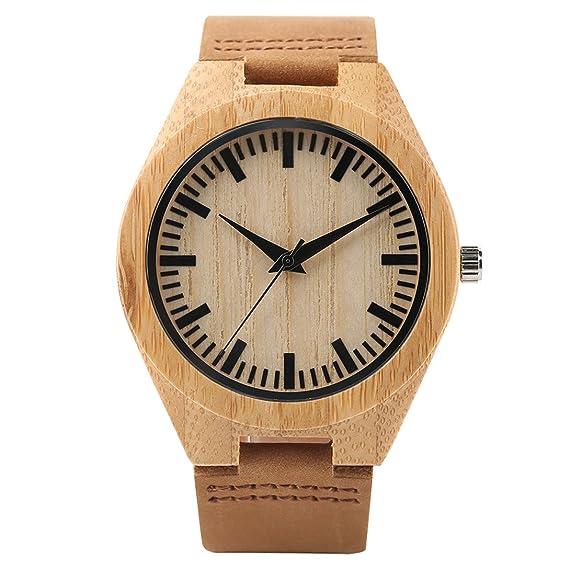 YISUYA - Reloj de pulsera para hombre, hecho a mano de madera de bambú
