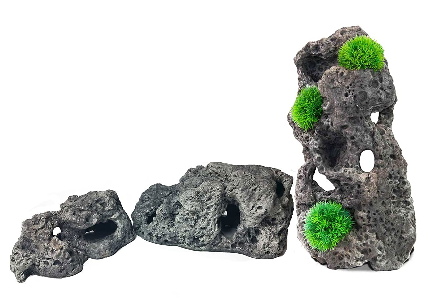 Aqua Maniac Limestone Cave Rock Fish Hideaway for Fish Tanks BUNDLE, Includes 3 Different Sizes (25.5 x 14.5 x 11.5cm, 35.5 x16x 17cm, 46x23x19.5 cm)