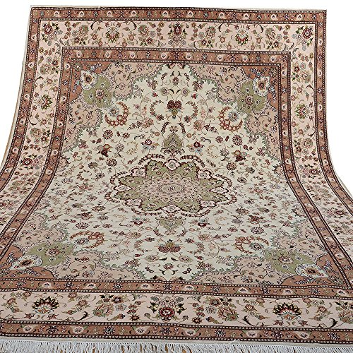 Yilong 8'x10′ Hand Knotted Wool/Silk Rug Handmade Tabriz Persian Oriental Traditional Thick Area Rugs Home Decor Carpet…