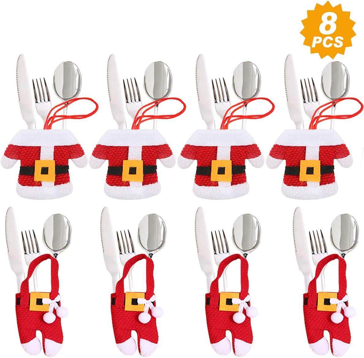 Aitsite 8 Piezas Navidad Cocina Cubiertos Cuchillo Tenedor Cuchara Pap/á Noel Mu/ñeco Nieve Alce Cuchillo Porta Bolsas Decoraciones para Mesa Bolsita Cubiertos Navidad Santa
