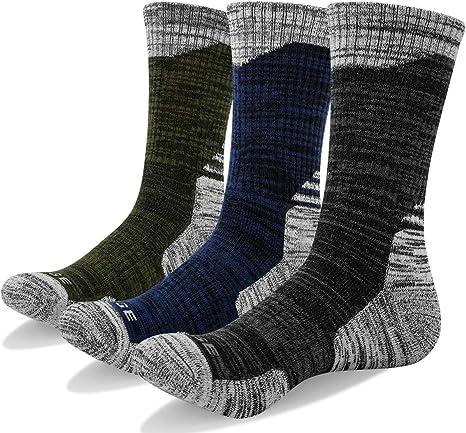 YUEDGE 3 Pairs Mens Cushion Crew Socks Outdoor Recreation Multi Performance Trekking Climbing Backpacking Hiking Socks