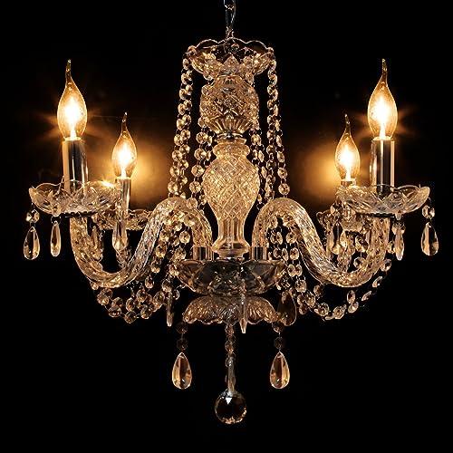 Ridgeyard Modern Luxurious K9 Crystal Clear Chandelier Candle Pendant Lamp Ceiling Living Room Lighting