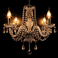 Ridgeyard 4 Lights Modern Luxurious K5 Crystal Chandelier Ceiling Light Fixture Pendant Lamp Living Room Lighting for…