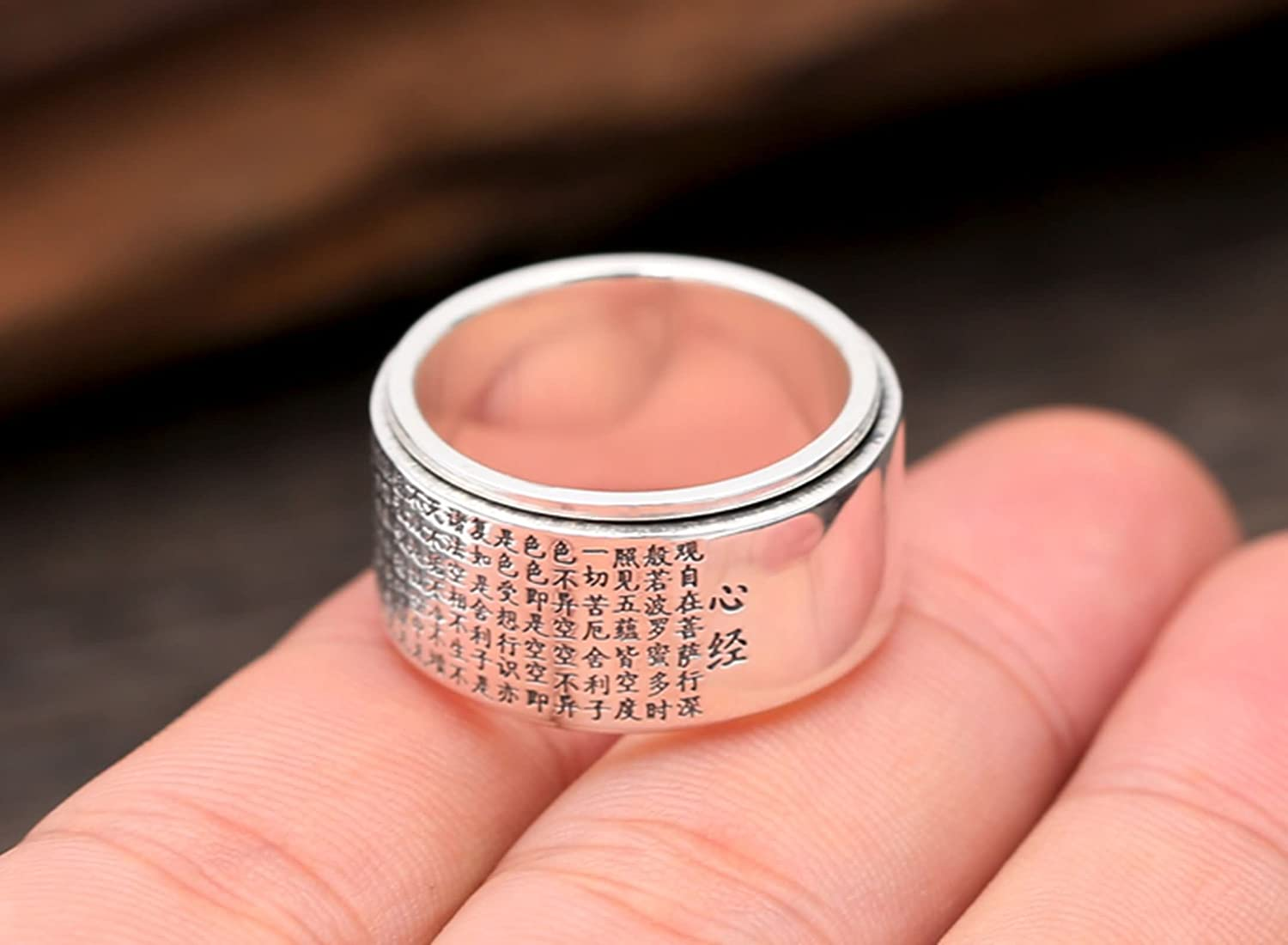 KnSam Mens Sterling Silver Jewelry Wedding Rings Heart Sutra