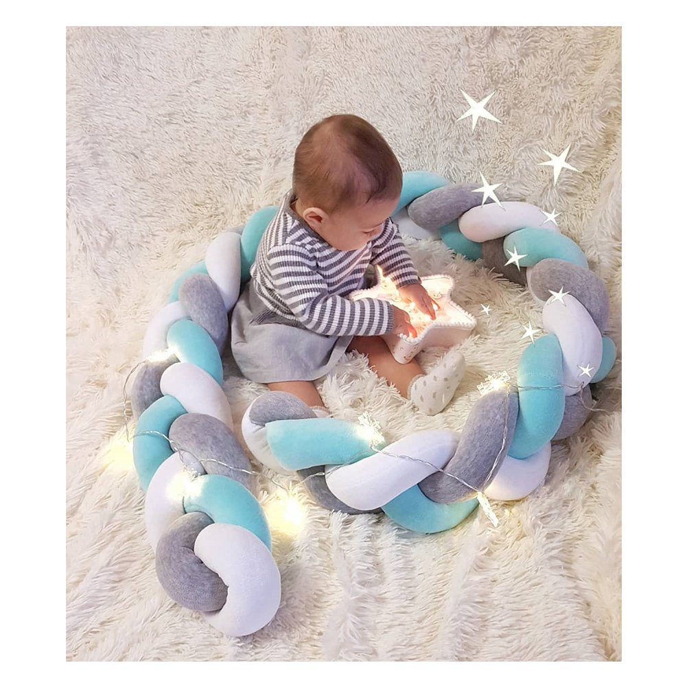 Infant Soft Pad Braided Crib Bumper Knot Pillow Cushion Cradle Decor for Baby Girl and Boy Blue, 118