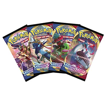 Pokemon Sword and Shield - Booster Pack Lot - 4 Sealed Packs: Toys & Games [5Bkhe1004157]