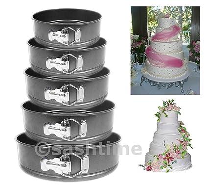 LIVIVO Juego de 5 redonda antiadherente molde para tartas/bandeja para horno. Molde