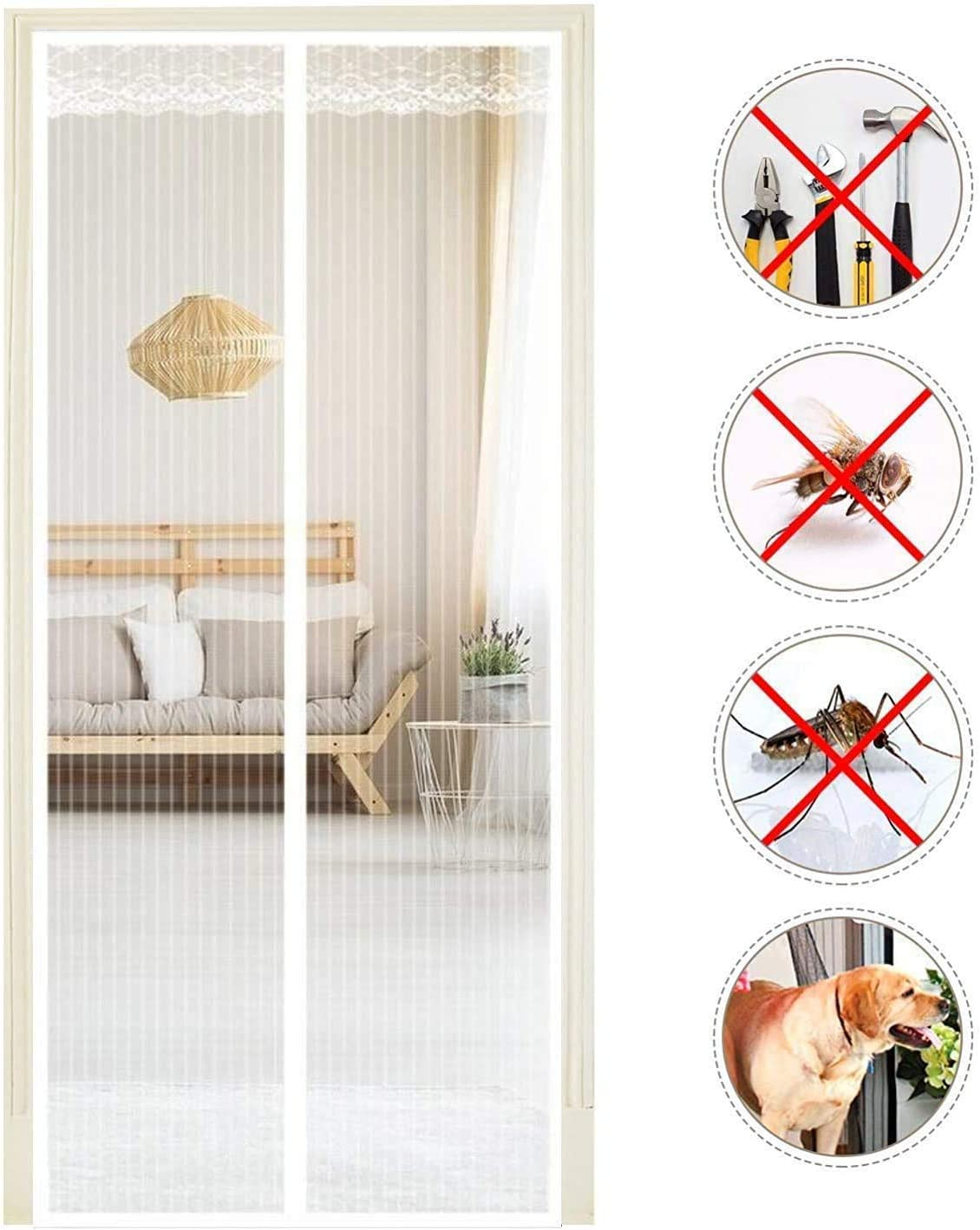 28x78inch Magnetic Curtain Mosquito Door with Heavy Duty Mesh Curtain Let Fresh Air Ente for Back Doors NQ032-White-70x190cm Front Doors Patio Doors
