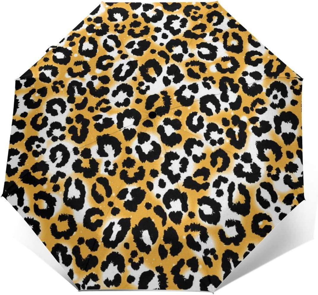 Leopard Animal Pattern Automatic Tri-fold Umbrella Folding Rain Umbrell Sunshade