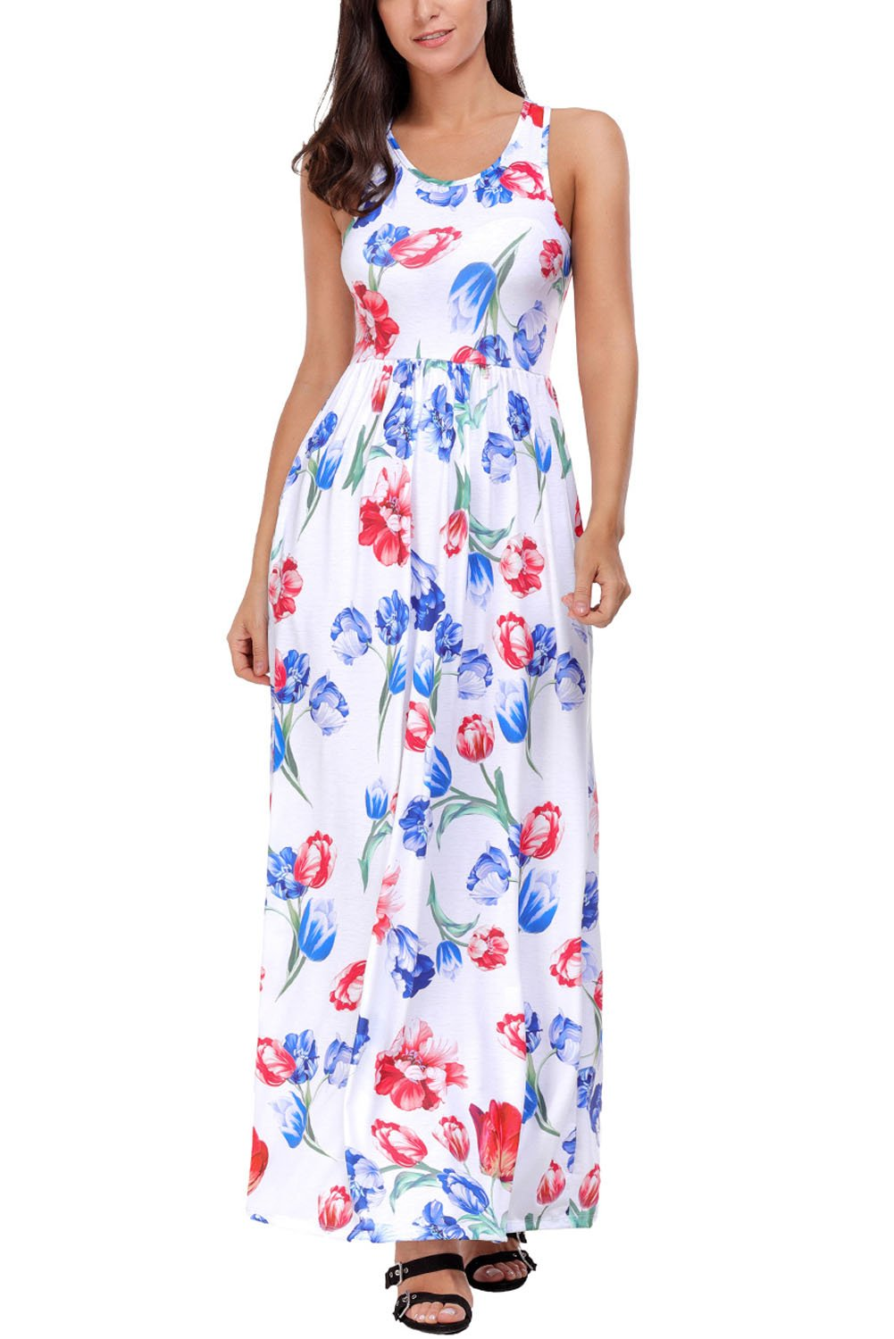 Women's Floral Print Summer Party Dresses Plus Size Sleeveless Long Maxi Casual Dress (US8-10/Medium, Color 4)