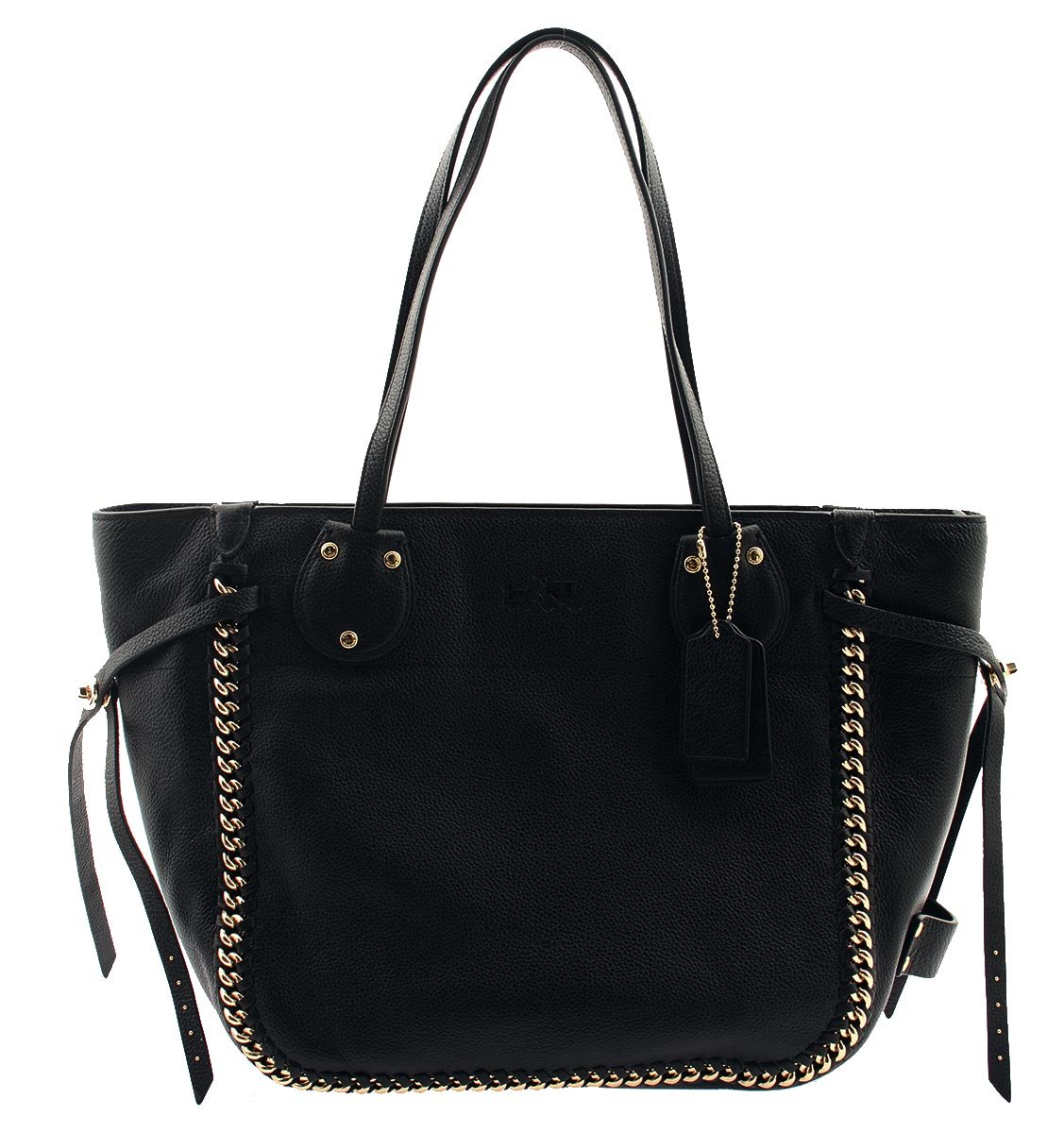 COACH Tatum Tote in Whiplash Leather Black Shoulder Bag, F34398 by Coach