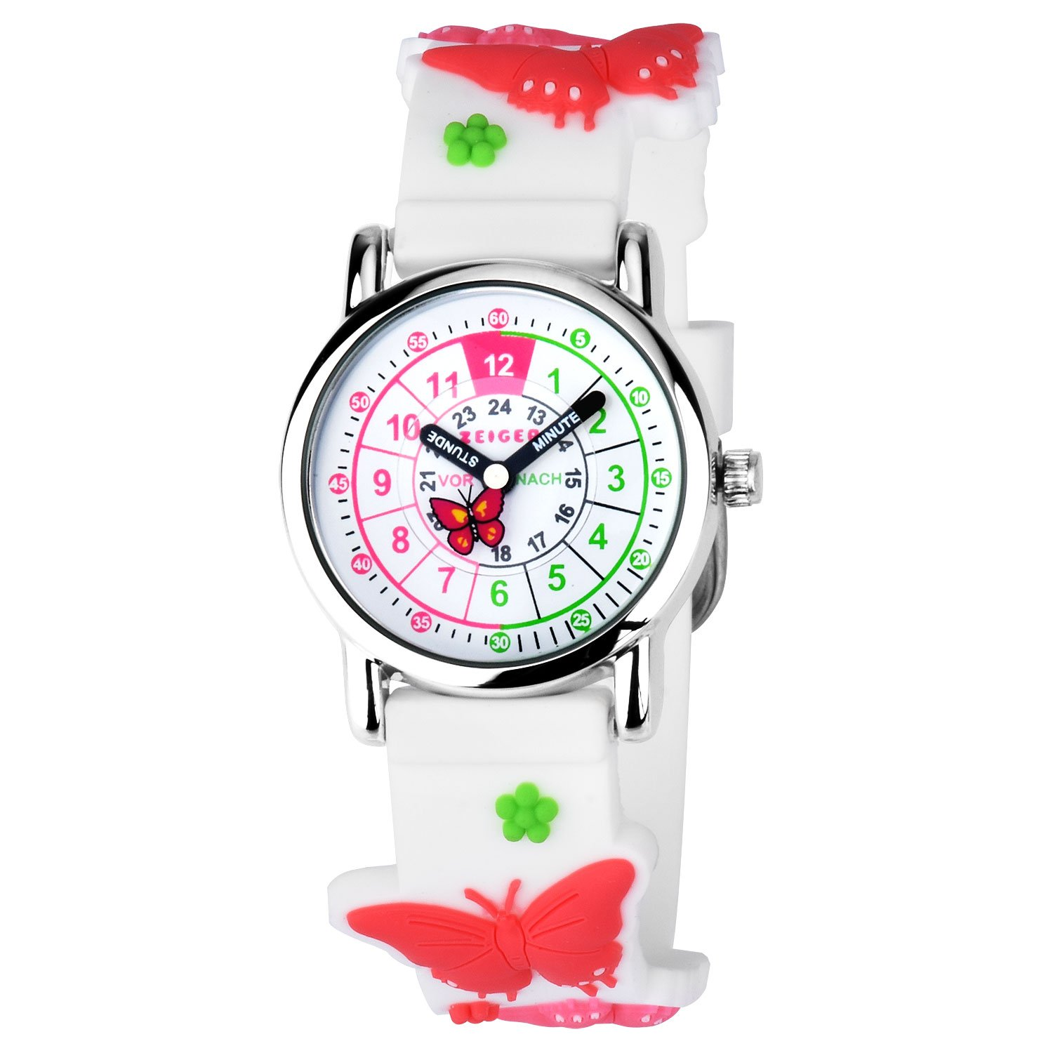 Zeiger Toddler Fashion Children Kids Watches Girls Age 5-7 - 10 Time Teacher, Cartoon Character 3D Butterfly Silicone Band -Red