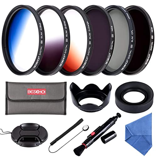 Beschoi 58MM ND Filter Kit (ND4 + ND8), Graduated Color Filter Set (Orange, Blue, Gray), CPL Filter, Collapsible Rubber Lens Hood, Tulip Lens Hood Bundle for Camera Lenses with 58mm Filter Thread