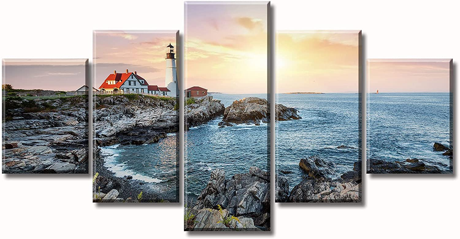 Nautical Decor Bedroom Wall art Portland Maine Bay Lighthouse Decor Landscape Pictures 5 Panel Canvas Print Artwork Morning Skyline Painting Living Room Decorations 60