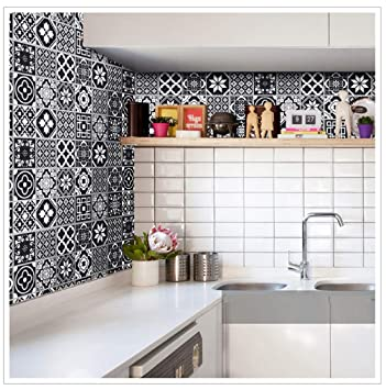 Buy Jaamso Royals Mosaic Ceramic Black Tile Pattern Decorative Kitchen Oil Proof Wall Sticker Removable Home Decor Vinyl Wall Decals Online At Low Prices In India Amazon In
