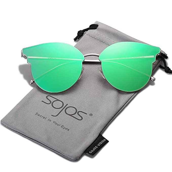 SOJOS Fashion Cateye Women Sunglasses Mirrored Lens Stainless Steel Frame SJ1055