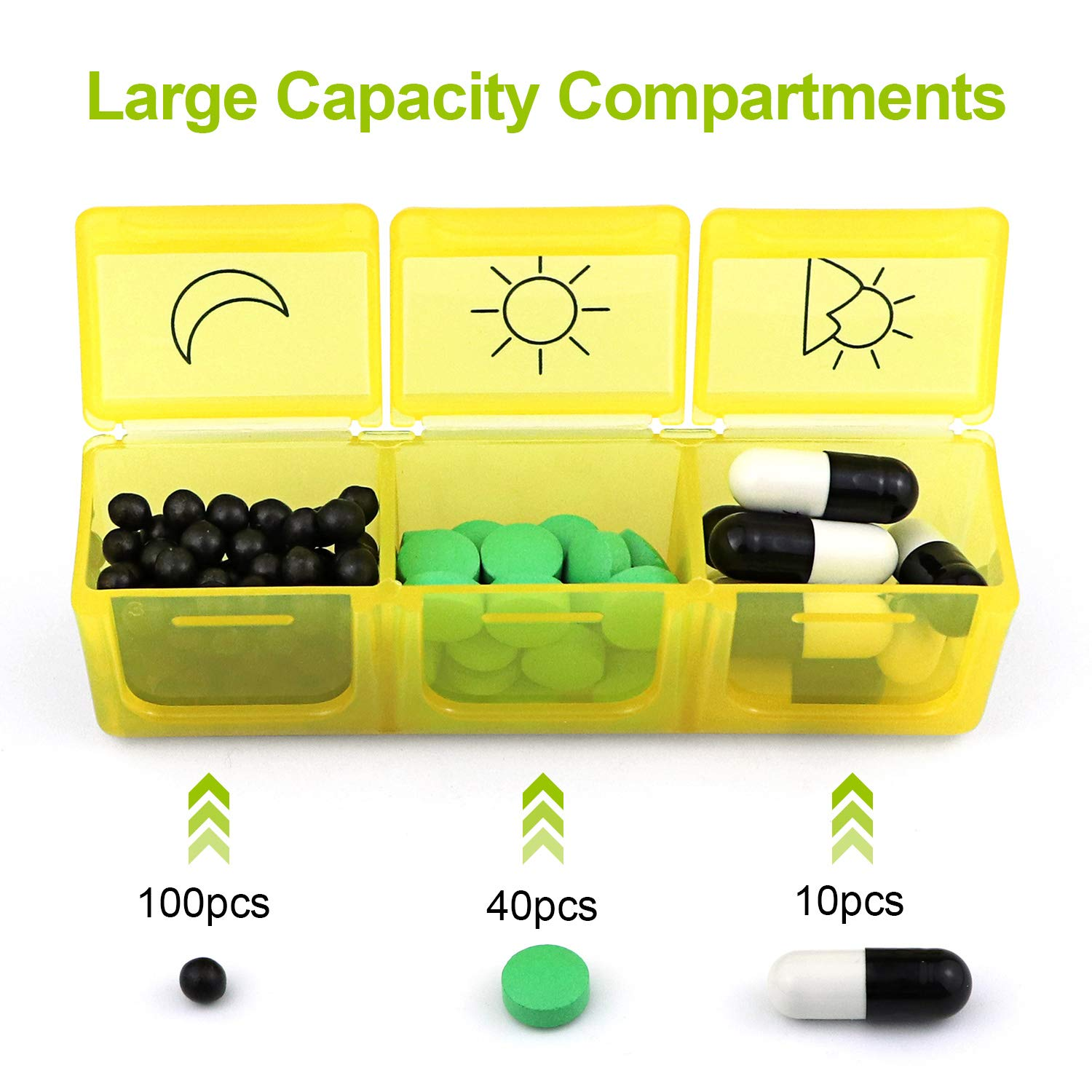 SENWOW Weekly Pill Organizer, Portable AM/PM Travel Pill Box Case (7-Day / 3-Times-A-Day) with Separate Compartments to Hold Vitamins, Supplements and Medication