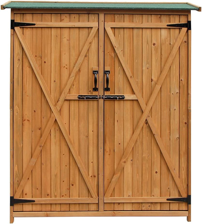 ZFRANC Fir Wood Shed Garden Storage Shed with Double Door Wood Garden Shed Wooden Lockers for Home & Outdoor Color & Green