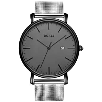 ab430796a6aeca BUREI Men's Fashion Minimalist Wrist Watch Analog Deep Gray Date with  Silver Stainless Steel Mesh Band