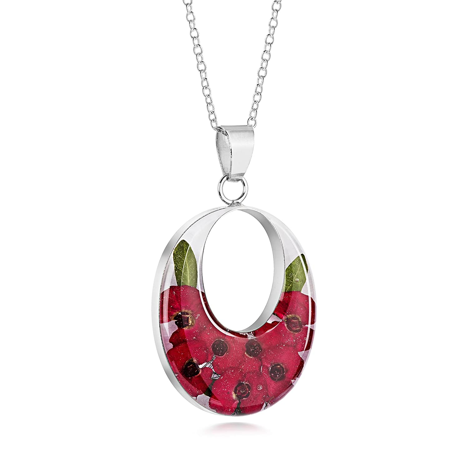 Natural Flower Jewellery Sterling Silver Large Double Oval Pendant Made with Real Poppies