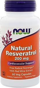 NOW Foods Natural Resveratrol - 200 mg - 60 Vegetarian Capsules