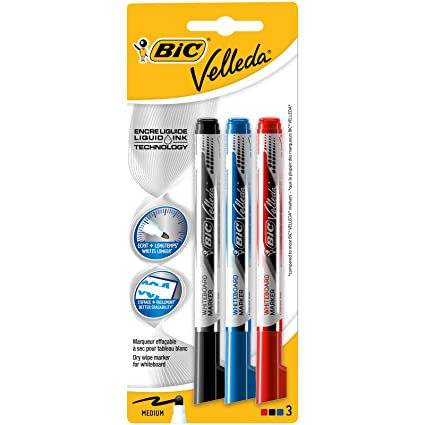 BIC Velleda - Blíster de 3 marcadores para pizarra blanca ...