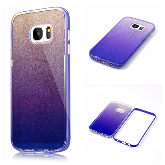 premium selection 8ee06 8a09c for Samsung Galaxy S7 Edge, G9350 Gradient Color Mirror Soft TPU Case with  Shockproof PC Bumper for S7 Edge (Purple)