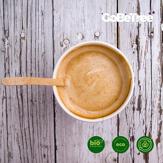 1000 paletinas de café de Madera de 14 cm. Palitos de café Desechables, Palitos removedores de café. agitadores de café y té. Palos para manualidades.