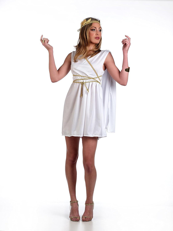 Sexy Karneval Damen Kostüm Römische Göttin kurzes Kleid mit Scherpe, Kordel  und Kopfschmuck Minikleid - S