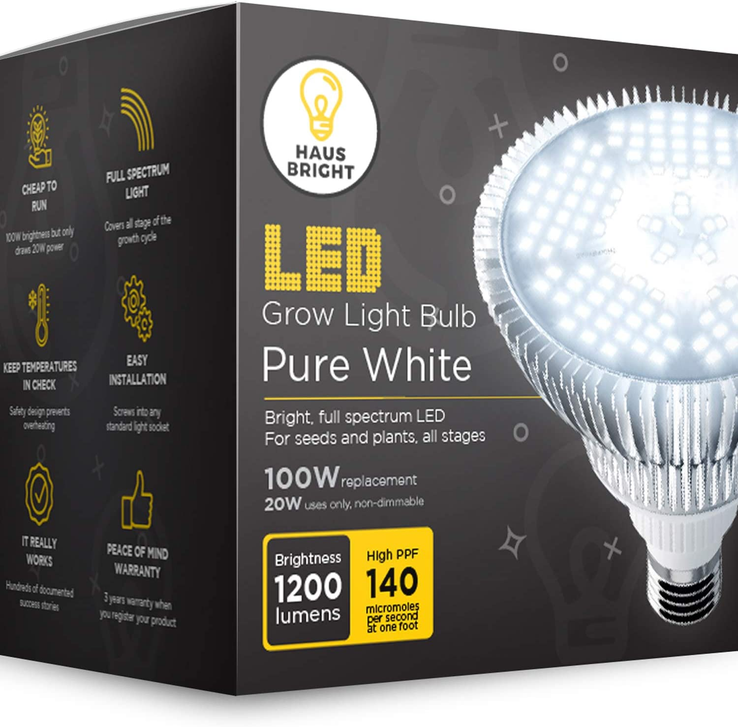 Haus Bright E27 Full-Spectrum LED Grow Light Bulb