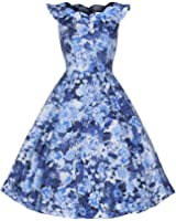Pretty Kitty Fashion Blue Floral Frill Sleeve Cotton Swing 50s Dress