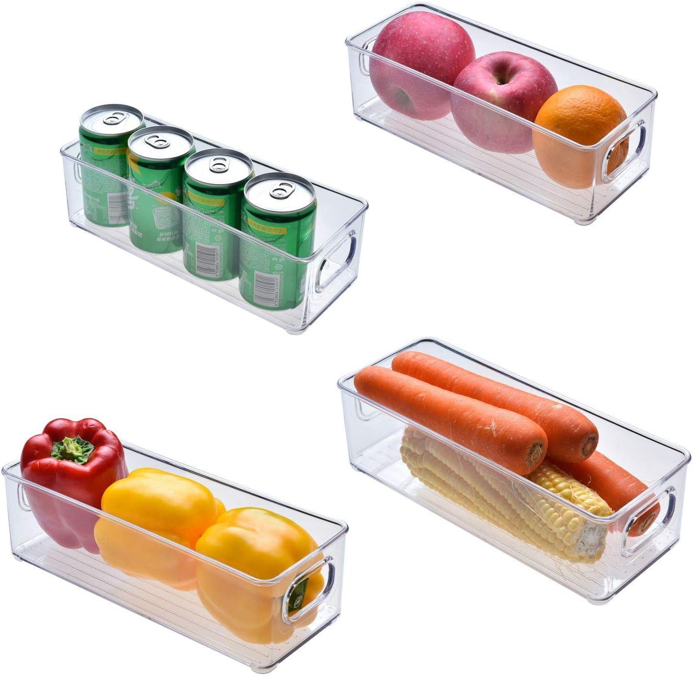 TNQQMie Refrigerator Organizer Bins - 4pcs,for Fridge, Freezer, Kitchen Cabinet, Pantry Organization,Stackable Plastic Food Storage Bin with Handles,BPA Free, 10