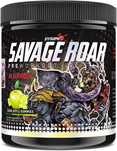 Dynamik Muscle Savage Roar Preworkout, Formulated by Kai Greene, 0 Artificial Colors, 0 Artificial Dyes, 0 Proprietary Blends, New Formula 30 Servings, Sour Apple