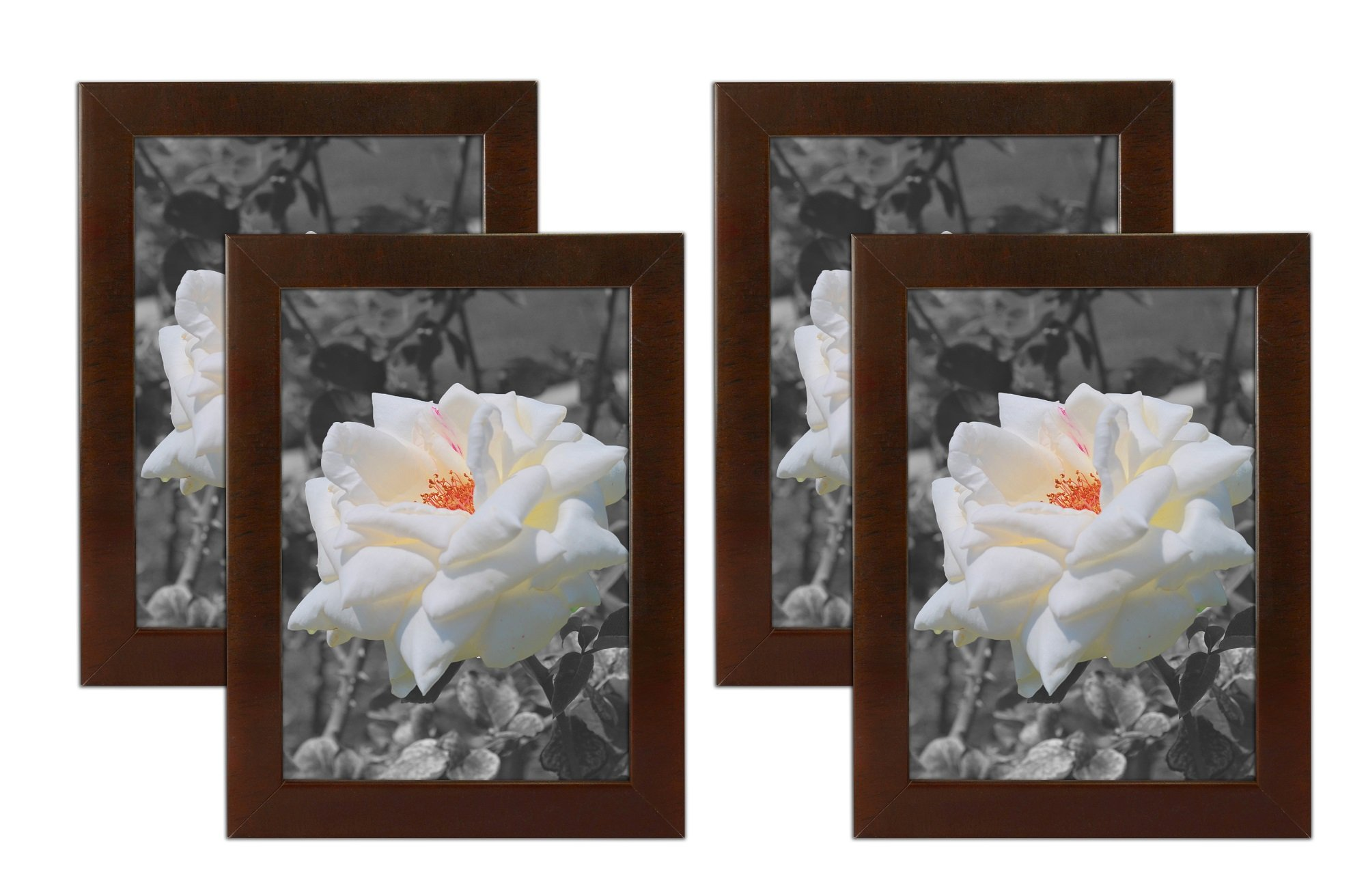 Golden State Art Set of 4, 5x7 Simple Wood Picture Frame - Table/Desk Top - Easel Stand - Back Hanger - Wall Display - Espresso Color - Real Glass 5x7 (4-Pack), Espresso