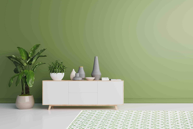 6ft Dia, Merry Black Green Decore Lightweight Outdoor Reversible Plastic Rug
