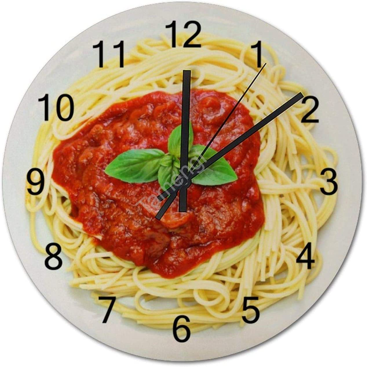 Tamengi Silent Battery Operated Wall Clock Funny Spaghetti Gag Gift Food Christmas Decorative Round Wooden Clock Easy to Read 12inch Wall Clock for Living Room/Bedroom/Kitchen